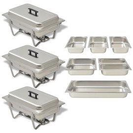 Set calentador de comida para buffet 3 piezas acero inoxidable