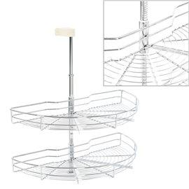 Bandeja para cocina alambre 2 niveles plateado 180 grados 75 cm