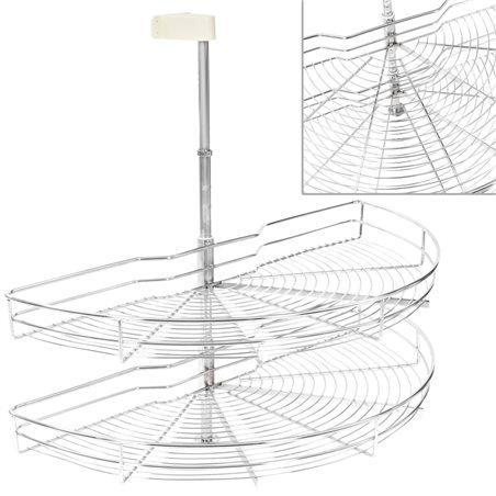 Bandeja de alambre de 2 niveles plateado 180 grados 85 cm