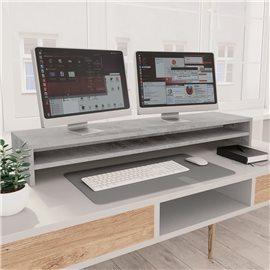 Soporte para pantalla de aglomerado gris hormigón 100x24x13 cm