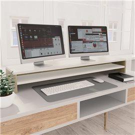 Soporte de pantalla aglomerado blanco roble Sonoma 100x24x13 cm