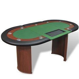Mesa de póker 10 jugadores bandeja de fichas y zona de crupier
