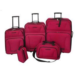 Juego de maletas de viaje 5 piezas rojo