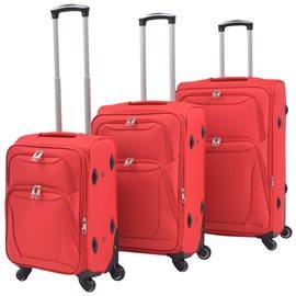 Juego de 3 maletas blandas rojas