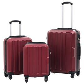 Juego de maletas rígidas ruedas trolley 3 pzas rojo tinto ABS
