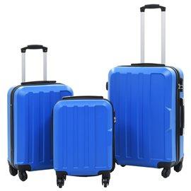 Juego de maletas rígidas con ruedas trolley 3 piezas azul ABS