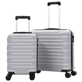 Juego de maletas trolley rígidas 2 piezas plateado ABS