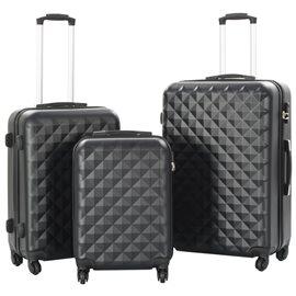 Juego de maletas rígidas con ruedas trolley 3 piezas negro ABS
