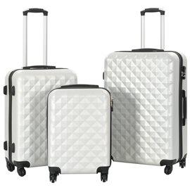 Juego de maletas rígidas trolley 3 pzas plateado brillante ABS