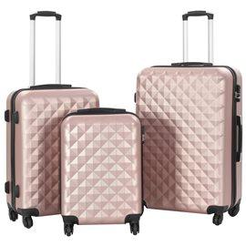 Juego de maletas rígidas ruedas trolley 3 pzas rosa dorado ABS
