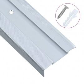 Cantoneras escalera forma de L 15 uds aluminio plateado 134 cm