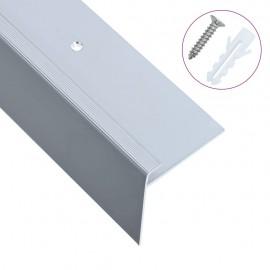 Cantoneras escalera forma de F 15 uds aluminio plateado 134 cm