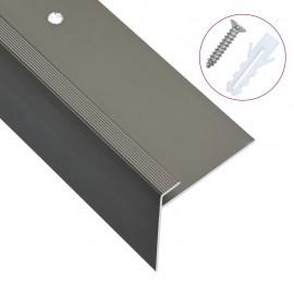Cantoneras de escalera forma de F 15 uds aluminio marrón 90 cm