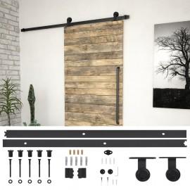 Kit de herrajes para puerta corredera acero negro 183 cm
