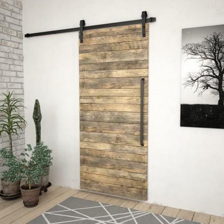 Kit de herrajes para puertas correderas acero negro 200 cm