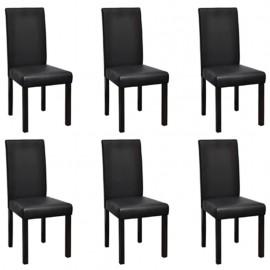 Sillas de comedor 6 unidades cuero sintético negro