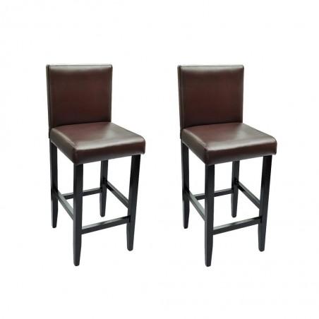 Taburetes de bar 2 unidades de cuero artificial marrón