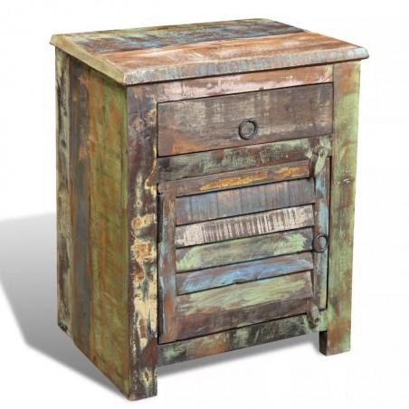 Mesita auxiliar con 1 cajón y 1 puerta madera reciclada