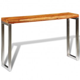 Mesa consola de madera de sheesham maciza y patas de acero