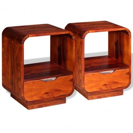 Mesita de noche con cajón 2 unids madera sheesham 40x30x50 cm