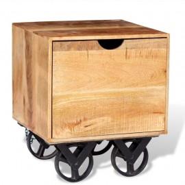Mesa auxiliar con cajón y ruedas madera de mango 40x40x45 cm