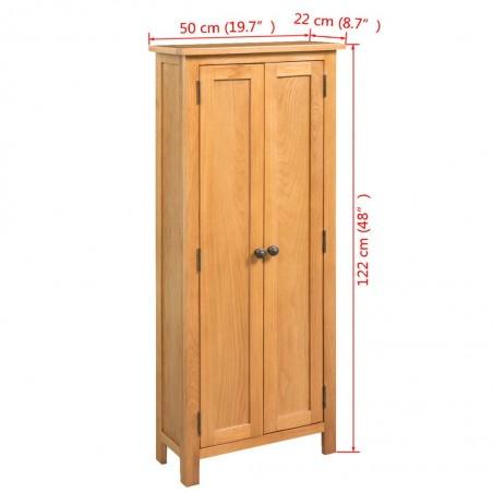 Armario de almacenaje de madera de roble maciza 50x22x122 cm