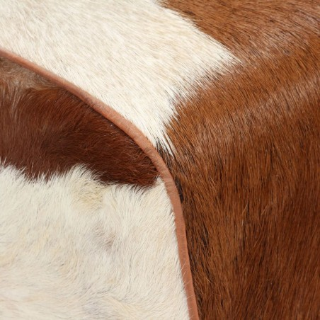 Banco de cuero de cabra auténtico marrón 160x28x50 cm