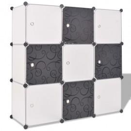 Armario cubo organizador con 9 compartimentos negro y blanco