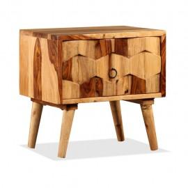 Mesita de noche con 1 cajón de madera maciza sheesham