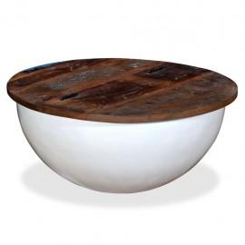 Mesa de centro de madera maciza reciclada blanca forma de bol