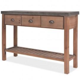 Mesa consola de madera de abeto maciza 122x35x80 cm