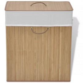 Cesto de la ropa de bambú rectangular color natural
