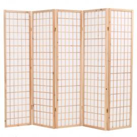Biombo plegable 5 paneles estilo japonés 200x170 cm natural
