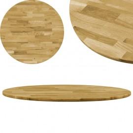 Superficie de mesa redonda madera maciza de roble 23 mm 800 mm