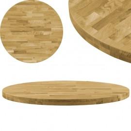 Superficie de mesa redonda madera maciza de roble 44 mm 600 mm