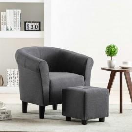 Set de sillón con taburete reposapiés 2 piezas tela gris oscuro