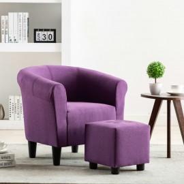 Set de sillón con taburete reposapiés 2 piezas tela morado