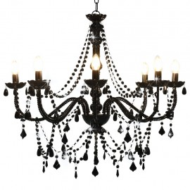 Lámpara de araña con cuentas negra con 8 bombillas E14