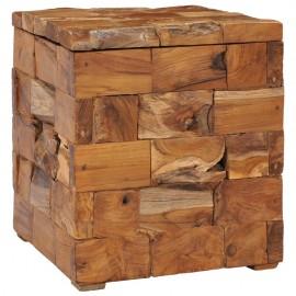 Taburete con almacenamiento madera maciza de teca 40x40x45 cm