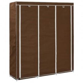 Armario con compartimentos y varillas tela marrón 150x45x175 cm