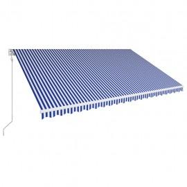 Toldo automático retráctil azul y blanco 500x300 cm