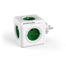Base Multiple 5T-Toma tierra Cubo Pp Verde/Blanco Original Powercube