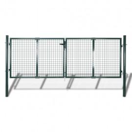 Puerta de valla de jardín 289x100 cm/306x150 cm acero verde