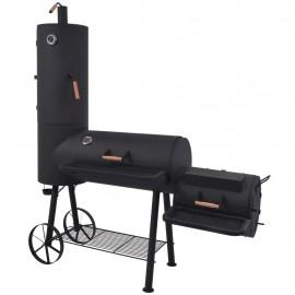 Barbacoa ahumador fuerte de carbón estante inferior negro XXL