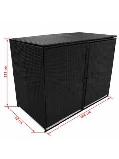 Cobertizo doble contenedor basura ratán negro 148x80x111cm