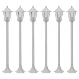 Farolas de jardín aluminio blancas E27 110 cm 6 unidades