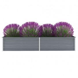 Jardinera de jardín de acero galvanizado 240x80x45 cm gris