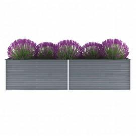 Jardinera de jardín de acero galvanizado 320x80x77 cm gris