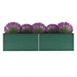 Jardinera de jardín de acero galvanizado 320x80x77 cm verde