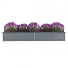 Jardinera de jardín de acero galvanizado 320x80x45 cm gris